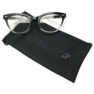 Vintage Cateyes Fade Color Transparent Horned Rim Clear Lens Cat Eye Glasses (Black, Clear)