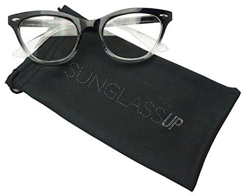 Vintage Cateyes Fade Color Transparent Horned Rim Clear Lens Cat Eye Glasses (Black, - Glasses Vintage Cateye