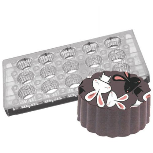 Fat Daddio's PCMM-03 15-Piece Round Fluted Chocolate and Candy Mold Tray Set