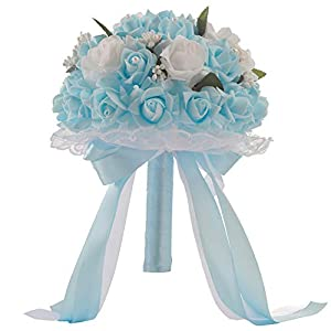 Blueseao Crystal Roses Pearl Bridesmaid Wedding Bouquet Bridal Artificial Silk Flowers for Home Kitchen Wreath Wedding Centerpiece Decor 82