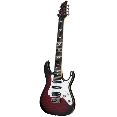 Schecter 7 String Solid-Body Electric Guitar, Black Cherry Burst (1997)