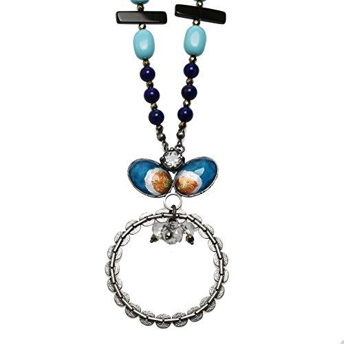 Tamarusan Glasses Holder Tibet Agate Onyx Hematite(Magnetic Containing) Lapis Lazuri Quartz Handmade Eyeglass Holder by TAMARUSAN