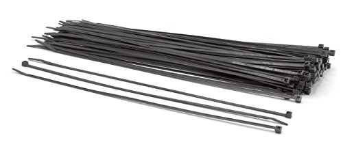 14 inch Black Nylon Zip Ties : Strong Zip Tie, Wire Ties : Indoor and Outdoor Rated – No tool required for these, Made in the USA, Zip Ties (Wire Ties, Cable Ties), 100 Pack – Black – 14""
