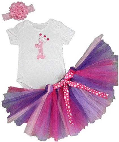 AISHIONY Baby Girls' 1st Birthday Tutu Onesie Newborn Princess Outfit 3PCs (L),Pink Flower,9-12 Months (Princess Outfit)