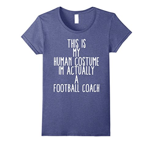 [Womens Human Costume Foot Ball Coach Football Mentor Gift Sports Large Heather Blue] (Female Football Costume)