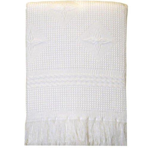 BabyPrem Baby Large Soft White Acrylic Stars Shawl Blanket 48 x 48