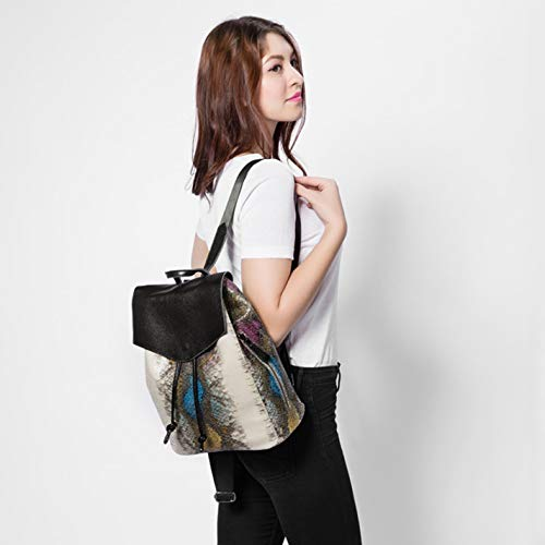 print snake drawstring faux backpack Women's leather Yellowbrown qzgIw8x