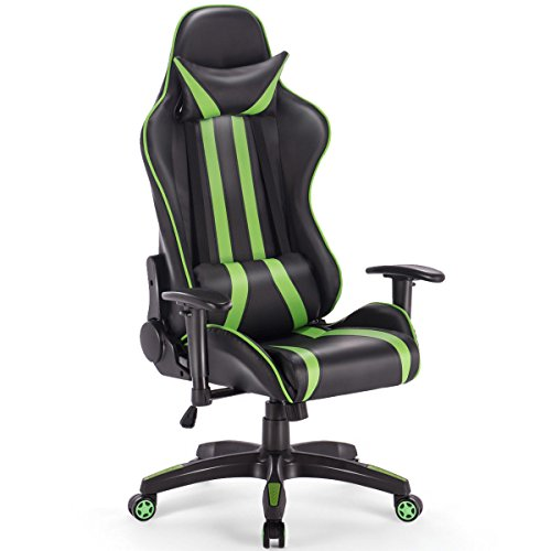 Giantex Gaming Chair Racing Reclining Chair w/Lumbar Support and Headrest, Adjustable Seat Height, Armrest &Padded High Back, 360-degree Swivel for Computer Task Desk Office Study Home &Internet Bar by Giantex