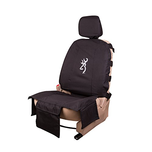 Browning Buckmark Tactical Low-Back Bucket Seat Cover Car, Truck, and SUV (Black, Rugged 600-denier Polyester Fabric, Includes Headrest Cover, Sold Individually)