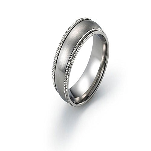 6mm Titanium Ring Wedding Band Brushed Double Milgrain Edge Comfort Fit SZ 6-12 Free Engraving Service