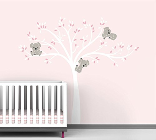 Modern Koala Cuteness Tree Wall Decal for Baby Nursery Decor - Pink Blush Color Collection by LittleLion Studio