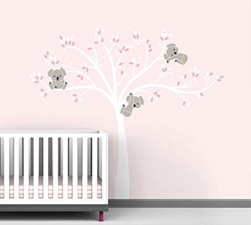 modern koala cuteness tree wall decal for baby nursery decor pink