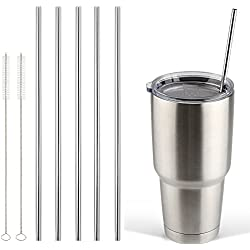 Accmor 18/8 Stainless Steel Straws, FDA-approved Durable Reusable Metal 10.5inch Extra Long Straight Drinking Straws Set of 5 – for 20 & 30OZ YETI RTIC OZARK Tumbler Cups - with 2 Cleaning Brushes