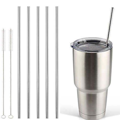 Accmor 18/8 Stainless Steel Straws, FDA-approved Durable Reusable Metal 10.5inch Extra Long Straight Drinking Straws Set of 5 - for 20 & 30OZ YETI RTIC OZARK Tumbler Cups - with 2 Cleaning Brushes