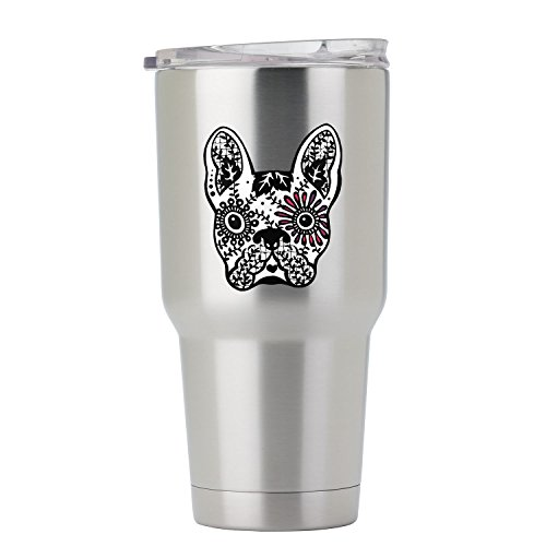 French Bulldog Sugar Black and White Full Color Vinyl Decal - Sized for Stainless Steel Tumbler (French Bull Tablet Case)