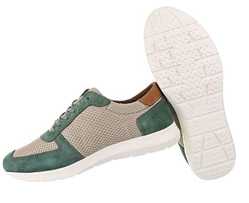 Herren Schnürer Grün Schuhe Sneaker Leder BFrSzWB0