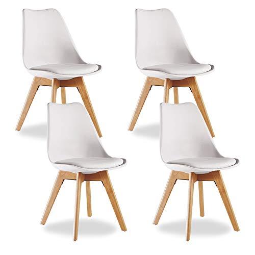 P N Homewares Lot De 4 Chaises Lorenzo Design Scandinave Blanche Salle A Manger Salon Cuisine Bureau Assise Rembourree Livraison Gratuite
