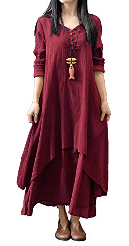 R.Vivimos Women Long Sleeve Cotton Casual Loose Plus Size Irregular Long Dresses (2XL, Wine Red) (Plus Dress Layered Size)