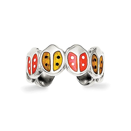 925 Sterling Silver Red and Orange Enameled Ladybug Toe Ring Size- Gold Ladybug Toe Ring