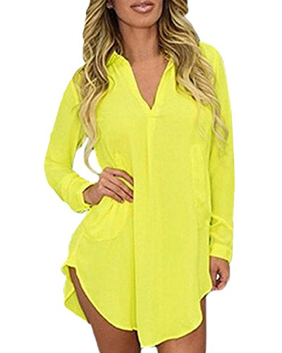 Sicong2 Natural and Graceful Women Sexy V-neck Long Sleeve Button Down 4 Colors Dress Shirts Yellow8 Attractive