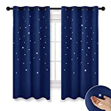 NICETOWN Children Blue Blackout Curtains - Space Inspired Night Sky Twinkle Star Curtain, Creative Blackout Window Drape Bedroom (1 Panel, 52 x 63 inch Panel, Navy Blue)