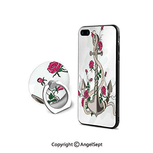 (iPhone 7/8 Case with 360°Degree Swivel Ring,Sea Anchor Entwined with Flourishing Roses Romantic Summer Ocean Inspired Decorative,Cushion Protective Cute Case,Taupe Beige Hot Pink)
