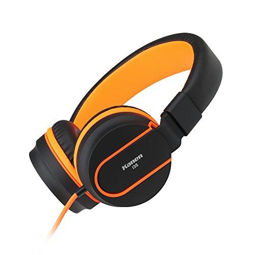 AILIHEN I35 Kopfhörer mit Mikrofon Leichte Faltbar Jungen Mädchen Headsets für Mädchen Jungen Smartphones iPhone Laptop Computer Mp3/4(Schwarz / Orange)