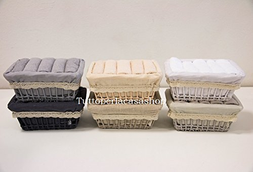 Daunex cestino con 5 lavette asciugamani cm 30x30 COUNTRY