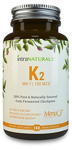 Vitamin K2 MK-7 - Natural MenaQ7 from Fermented Chickpeas - Supports Healthy Bones, Heart, Arteries & More - 3rd Party Tested to Guarantee Quality - Vegan Capsules, 100% Pure, Non-GMO | IntraNaturals by IntraNaturals