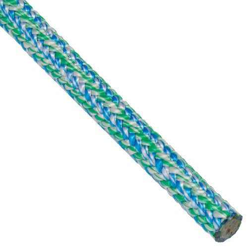 Samson VT120-COOL Vortex 24-Strand Climbing Line - 0.5 Inch x 120 Feet, Cool Colors of Green/Blue/White