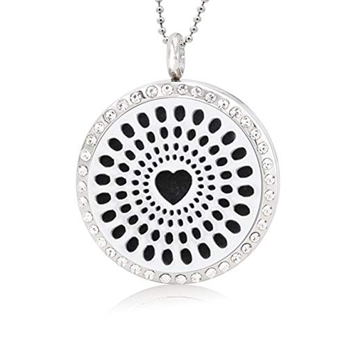 Gimax Clouds Lotus Flower 30mm Rhinestone Crystal Stainless Steel Aromatherapy Perfume Diffuser Locket Pendant 10pcs Pad (no Necklace) - (Metal Color: 041, Length: Twist Screw)