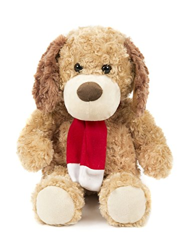 Red Poodle Plush (Soft Stuffed Little Teddy Dog Plush Toy Poodle with Red Scarf 12 Inches Light Brown By HollyHOME)
