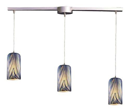 - Elk 544-3L-MO 3-Light Pendant in Satin Nickel and Molten Ocean Glass