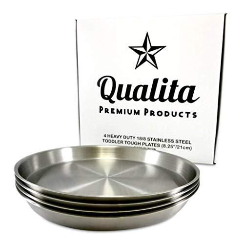 Qualita Set of 4 Stainless Steel Kids Plates Toddler Tough Baby Safe BPA Free