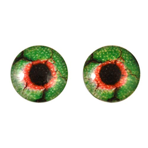 Glow in The Dark Zombie Eyes in Green and Red 20mm Peel and Stick Adhesive Backing - for Art Dolls, Jewelry Making, Taxidermy, Scrapbooking, and More -