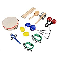 Innocheer Kids 10 PCS Musical Instruments & Percussion Toy Rhythm Band Set