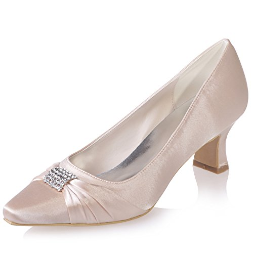 Sarahbridal Girls Pointed Toe Bridal Wedding Shoes Evening Prom Party Satin Low Heels Shoe For Women Size SZXF0723-03 (4 UK - 7.5 UK) Champagne kwr1At