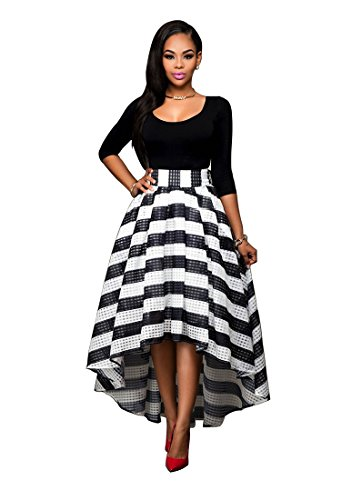 - Dafina Specialties Women's Off Shoulder Casual Rose Print Maxi Skirts Dress 2 Pieces Top & Bottom Skirts, Black & White, Small
