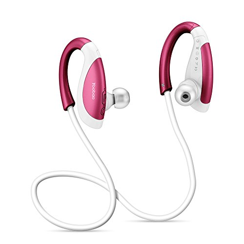 Wireless Sport Earbuds with Mic, Yoobao YBL110 Sound Noise Cancelling earphone, Fast Pairing Secure Fit for Sports Gym Running Exercising, 8 Hours Play Time-Red (America Noise Canceling Headphones)