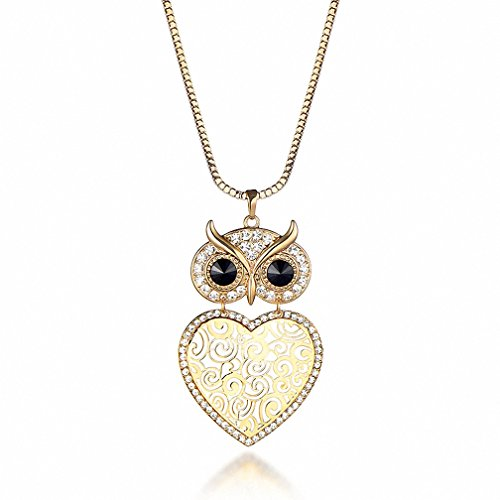 - Kalapure 18K Gold Silver Heart Wisdom Bird and Filigree Lucky Owl Full Rhinestone Long Sweater Necklace (Yellow)