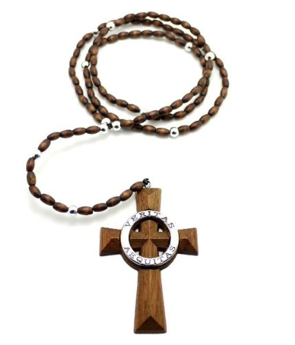 "Veritas Aequitas Cross Pendant 5mm 39"" Wooden Rosary Necklace, Brown/Silver-Tone"