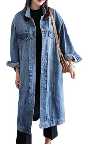 Cromoncent Women's Plus Size Denim Button Up Washed Long Sleeve Outer Coat Jacket Blue XXXL by Cromoncent