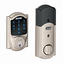 Schlage BE469NXCAM619 Camelot Touchscreen Deadbolt with Nexia Home Intelligence and Alarm, Satin Nickel, Z-Wave
