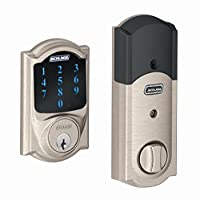 Schlage Connect BE469NX CAM 619 Touchscreen Deadbolt with alarm with Camelot Trim, Satin Nickel