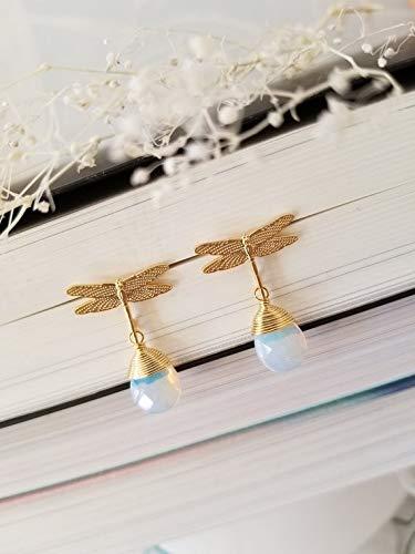 (Moonstone Earrings, Dragonfly Earrings, STERLING SILVER POST, dainty,handmade, Gift for bridesmaid, Spring earrings )