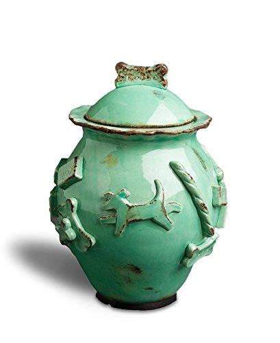 Carmel Ceramica PDJA3001 Dog Treat Jar, Aqua/Green