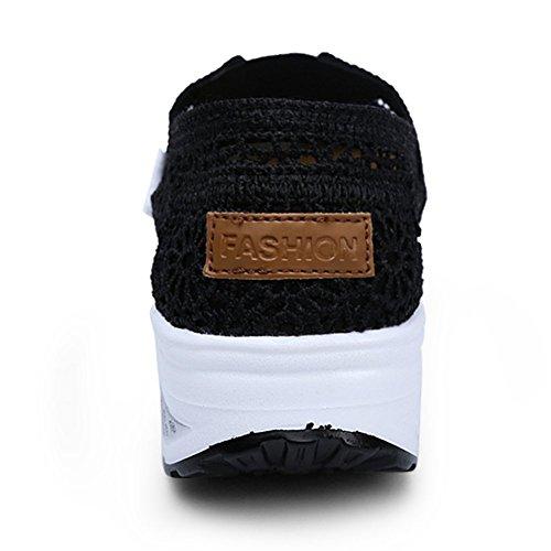 Mesh Crochet XMeden Walking Slip Work Platform Womens Toning Out Sneaker Black Shoes Fitness On T8Z5Cwqax5