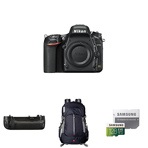 Nikon D750 FX-format Digital SLR Camera Body Deluxe Battery Grip Bundle