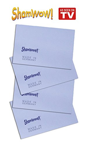 The Original Shamwow Mini - Super Absorbent Multi-Purpose Cleaning Shammy (Chamois) Towel Cloth, Machine Washable, Will Not Scratch, Blue (4 (Shamwow Towels)