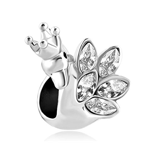 Feather Crown Swan Princess White Crystal Jewelry Beads Fit Pandora Charm Bracelets
